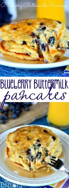 Delicious Blueberry Buttermilk Pancakes are the perfect breakfast any day of the week! Bursting with fresh blueberries and tons of delicious flavor. Don't forget the maple syrup!MomOnTimeout.com #breakfast #brunch #breakfasttime #pancakes #blueberry