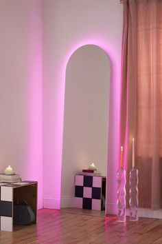 Shop Yvette LED Floor Mirror at Urban Outfitters today. Discover more selections just like this online or in-store. Room Ideas Bedroom, Bedroom Decor, Mirrors Urban Outfitters, Urban Outfitters Room, Deco Studio, Neon Room, Pink Room, Aesthetic Room Decor, Purple Aesthetic