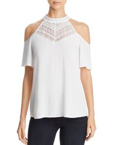 Design History Lace Front Cold Shoulder Top In White White Tops, Black Tops, Black Sweaters, Cashmere Sweaters, Cold Shoulder, Shoulder Tops, Shirt Blouses, Design History, Tunic Tops