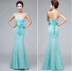 Fashion Sweetheart Strapless Lace Mermaid Long Green Mint Butterfly Bandage Bridesmaid Dresses
