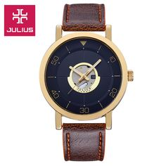 >> Click to Buy << 2015 New Julius Men's Homme Wrist Watch Auto Date Big Fashion Hours Dress Retro Leather Student Boy Birthday Christmas Gift  #Affiliate