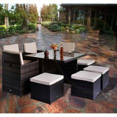 Buy Deluxe 9pc Rattan Garden Furniture Set Wicker Patio Dining Cube Sofa 4 Chairs Square Table Brown |Homcom