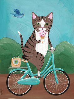 CAT Art Brown Tabby on a Bicycle Eating Ice Cream Original
