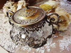 ❥ old crystal and silver sugar bowl