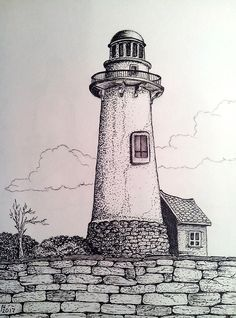 Lighthouse @ Stone Wall Lighthouse Sketch, Lighthouse Painting, Wall Drawing, Painting & Drawing, Pencil Art Drawings, Drawing Sketches, Laser Art, Black And White Painting, Landscape Drawings