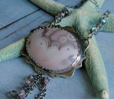 Sterling Silver Agate and Moss Amethyst Necklace by SylviaAnderson, $167.00