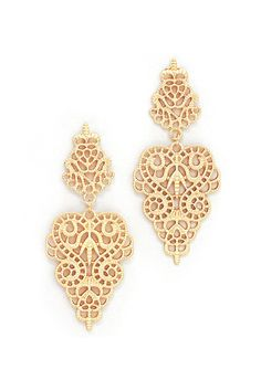 Crochet Rose Earrings in Gold on Emma Stine Limited