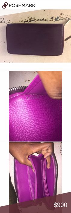 Louis Vuitton Purple Zippy Wallet Material: Epi leather Original Box : No.                Dimensions : 12 X 21 X 2.5 (cm)- Leather cob color plum, mauve leather interior- The lining is leather- It closes with a zipper- 12 slots for credit cards- 2 compartments for papers and passport- A patch pocket for tickets- A space for checkbook or plane tickets- A pen holder with pen offered!- Still in very good condition except for a few white marks on the front & small black marks on the…