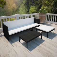 Black Outdoor Poly Rattan Three-Seater Lounge Set[3/6]