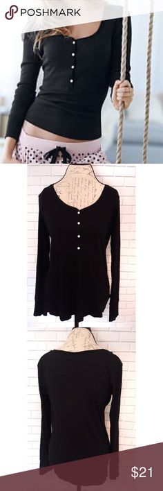 {Victoria's Secret} thermal long sleeve shirt In perfect condition. Cute long sleeve form fitting black shirt. Perfect for winter. Will fit a large. Measurements provided in pics above. Bundle to save. From a smoke and pet free home. Fast shipping! Victoria's Secret Tops Tees - Long Sleeve