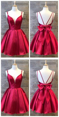Cute Red Double Straps Satin Homecoming Dress with Bow Back,Simple Red Short Prom Dress - Source by SugarFluffyTutu - Short Red Prom Dresses, Simple Homecoming Dresses, Dama Dresses, Open Back Prom Dresses, Cute Prom Dresses, Evening Dresses For Weddings, Formal Evening Dresses, Pretty Dresses, Short Prom