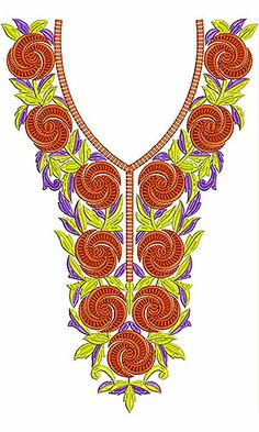 Dainty Look Orange Figure Embroidery Design Latest Embroidery Designs, Border Embroidery Designs, Embroidery Patterns, Beaded Embroidery, Hand Embroidery, Design Of Neck, Gala Design, Irish Crochet, Couture
