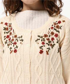 Samansa Mos2(サマンサモスモス)の花刺繍カーディガン(ニット/セーター)|詳細画像