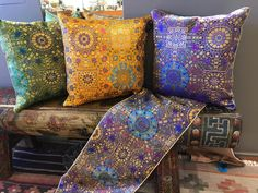 Chinese Pillows and Tapestries : Beautiful Chinese pillows and tapestries on hand painted Chinese bench. Decorative Pillow Covers, Tapestries, Indian Fashion, Bench, Chinese, Hand Painted, Throw Pillows, Indian Style, Fabric