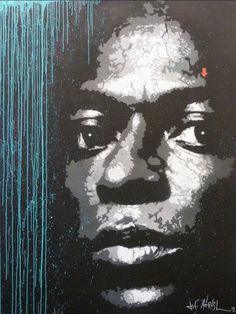Street art by Jef Aérosol - Miles Davis - xxy