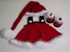Conjunto confeccionado em crochê, composto: vestidinho, gorro e botas detalhes> botões cor- vermelho, branco e preto tamanhos - 0 a 3 / 3 a 6 / 6 a 9/ 9 a 12 meses frete por conta do comprador. R$ 99,00