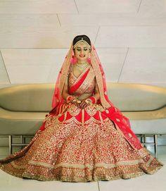 Wedding lehenga Indian Bridal Outfits, Indian Bridal Makeup, Indian Bridal Wear, Bridal Dresses, Indian Wear, Party Dresses, Red Wedding Lehenga, Indian Bridal Lehenga, Red Lehenga