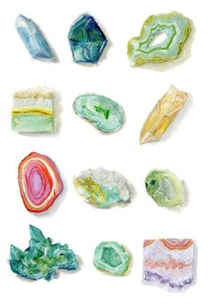 Assorted Rock Collection Watercolor Print by StripedCatStudio