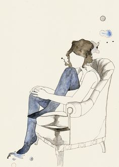 Girl In Chair #watercolor #drawing #illustration