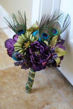 Blue Purple Olive green.   Peacock Wedding Bouquet