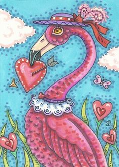 Valentine Pink Flamingo Cupid's Heart Bird Holiday SFA Susan Brack Art ACEO EBSQ | eBay