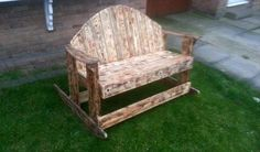recycled pallet vintage rocking bench - scorched wood