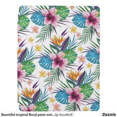 Shop Beautiful tropical floral paint watercolors iPad smart cover created by InovArtS. Personalized Christmas Gifts, Watercolor Pattern, Summer Colors, Delicate, Tropical, Watercolors, Beautiful, Ipad Covers, Elegant Designs