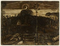 Samuel Palmer, Late Twilight, brown ink and sepia mixed with gum arabic Nocturne, Landscape Paintings, Landscapes, Oil Paintings, Landscape Art, Park, Lovers Art, Online Art, Les Oeuvres