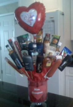 Man bouquet - the b/f's homemade valentines gift 2012 - he LOVED it!