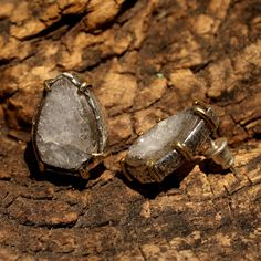Teardrop druzy earrings in silver setting with brass accent prongs and sterling silver post