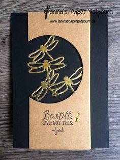 jpp - clean & simple card / craft black gold/ Libellen / dragonflies/ Global Design Project #GDP075 / Stampin' Up! Berlin / Sending thoughts / Thinlits Libelle www.janinaspaperpotpourri.de