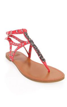 Deb Shops #coral #studded #sandals