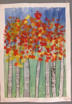 Resultado de imagen de fall art projects for elementary students Fall Art Projects, School Art Projects, Autumn Crafts, Autumn Art, Autumn Trees, Kindergarten Art, Preschool Art, Arte Elemental, Classe D'art