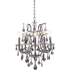 """Elena 18"""" Crystal Mini Chandelier with 5 Lights - Polished Nickel Finish and Grey Crystal"""