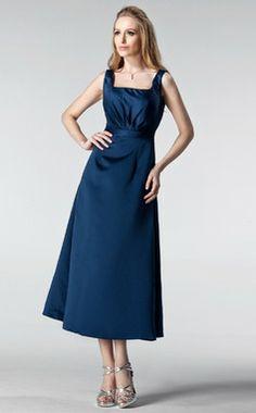 Трапеция/Принцесса квадратный вырез Длина ниже колен Атлас Платье Подружки Невесты с Рябь (007005178)