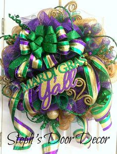 Extra Large Deco Mesh Mardi Gras Wreath - Fat Tuesday Wreath - Mardi Gras Decoration - Mardi Gras Party by StephsDoorDecor on Etsy