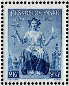 Czech stamp -Aniversario de la independencia, poco iba a durarle, en 1939, Hitler la invadiría.