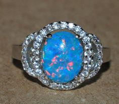 blue fire opal Cz ring Gemstone silver jewelry Sz 8.5 modern cocktail style N79W #Cocktail