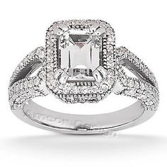 14K White Gold Engagement Ring - 1.45CT Emerald Cut Diamond Ring(H-I Color, I1 Clarity), All Sizes Available, $2187.48