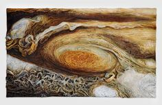 "Aga Osak ""Jupiter's Great Red Spot"" 150 x 90 cm, mixed media, relief 2016"