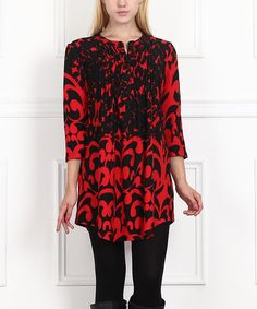 Another great find on #zulily! Red & Black Abstract Notch Neck Tunic #zulilyfinds