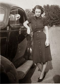 1940's, vintage, fashion, car, dress, collar, stye, button up dress, short hair