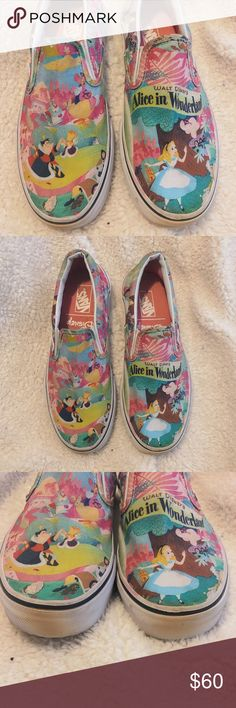 7befaaf75b6 I just added this listing on Poshmark  RARE DISNEY x VANS  Alice in  Wonderland Slip-ons.  shopmycloset  poshmark  fashion  shopping  style   forsale  Vans   ...