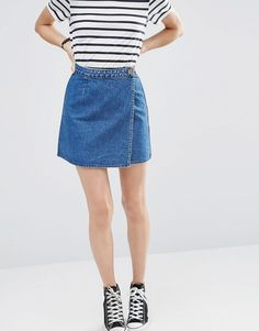 Image 4 of ASOS Denim Wrap A Line Skirt in Mid Wash Blue