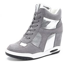 UMAC High Top Wedge Sneakers for Womens  Antislip Rubber Sole Hidden Heel Round Toe Platform Casual Shoes Grey 7 BM US ** Find out more about the great product at the affiliate link Amazon.com on image.