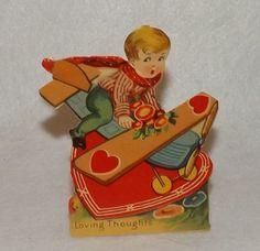 Vintage Antique Stand-Up German Valentine Boy Riding Toy Bi-Plane Airplane