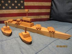 Wooden Naval Toy Set Battleship and 2 Patrol Boats by WillToWin9