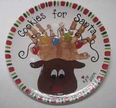 Cookies for Santa - reindeer hands plate : Brush Strokes Pottery : Austin, TX