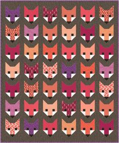 """Fancy Fox"" quilt designed by Elizabeth Hartman. Features Kona Cotton, Essex Yarn Dyed, and Rhoda Ruth by Elizabeth Hartman. Petal colorstory."