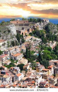 The ancient town of Taormina with its Greek amphitheater in Sicily, Italy
